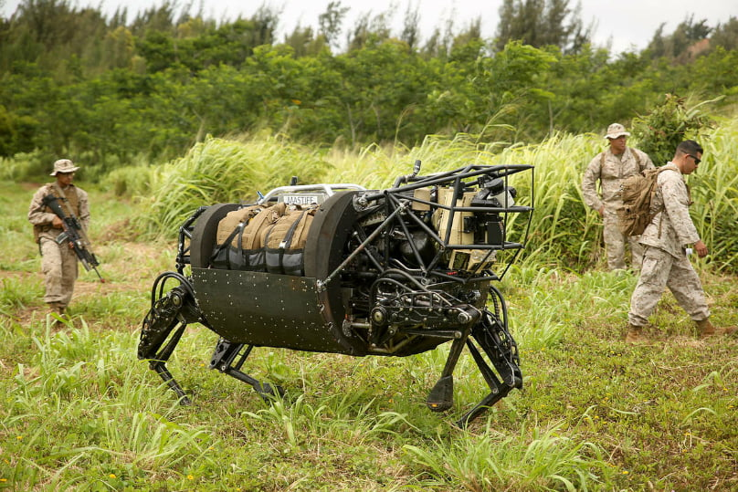 US Base Security Patrolling Grounds With Robot Dogs